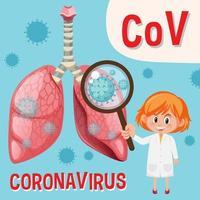 diagramma che mostra il coronavirus con il medico che esamina la cellula virale vettore