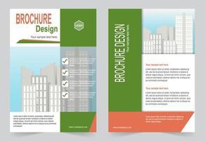 modello di brochure verde e arancione per il marketing per uso aziendale vettore
