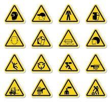 segnali di avvertimento e rischi industriali icona set di etichette giallo vettore