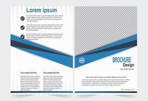 modello dell'opuscolo blu e bianco vettore