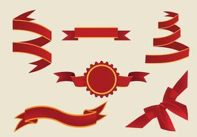 Vettore rosso decorativo dei nastri di fusciacca