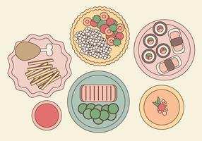 Illustrazione di cibo placcato vettoriale