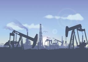 Vettore dell'illustrazione del paesaggio del giacimento di petrolio