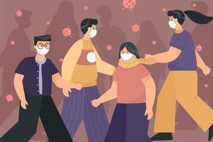 persone che camminano indossando respiratori per prevenire covid-19