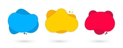 3 grafici astratti liquidi arrotondati colorati vettore