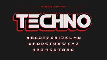 futuristica tipografia quadrata rossa vettore