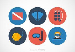 Icone di vettore di immersione subacquea