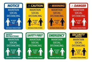 mantenere la distanza sociale almeno la raccolta del segno di 6 ft vettore