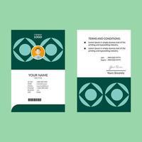 carta d'identità elegante nel modello di progettazione verde o ciano vettore
