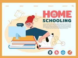 ragazza della scuola a casa che si siede con il computer per l'apprendimento e l'istruzione vettore