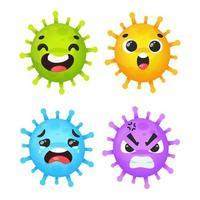 cartone animato coronavirus impostato con diverse emozioni vettore