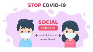 persone mascherate da cartoni animati che prendono le distanze sociali per fermare covid-19 vettore
