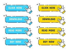 cursore della mano sopra i pulsanti web blu e gialli vettore