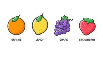 insieme dell'icona della frutta di stile del fumetto vettore