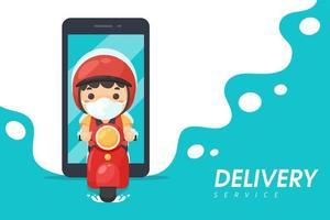 motorino di guida mobile dell'uomo di consegna mobile di stile del fumetto