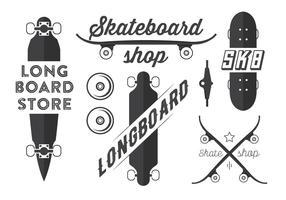 Emblemi vettoriali di skateboard e longboard