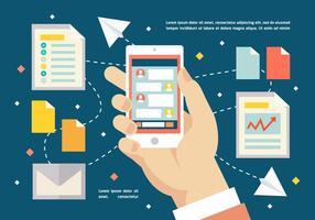 Fondo di vettore Marketing piatto digitale gratuito con Smart Phone Touch Screen