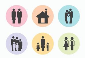 Famiglia silhouette icone vettoriali