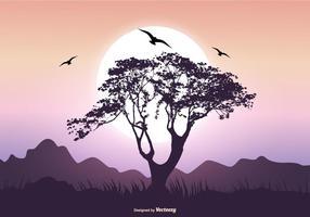 Scena di paesaggio con Baobab Tree vettore