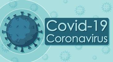 poster covid-19 con cellula virale su blu