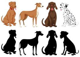 set di cani di sagoma e colore vettore