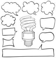 bolle di discorso e lampadina