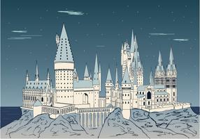 Disegno del castello di montagna di notte vettore