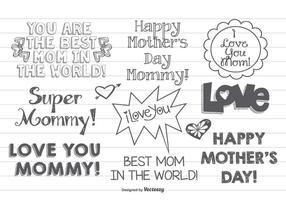 Set di etichette festa della mamma disegnata a mano carina vettore