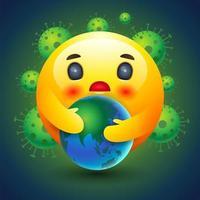 emoticon smiley che tiene la terra di fronte a cellule virali vettore