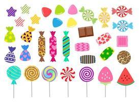 set di icone di dolci e caramelle vettore