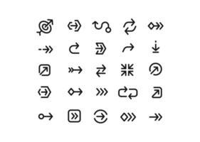 collezione di icone di linee di freccia per il web vettore
