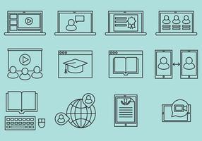 Icone di linea di webinar vettore