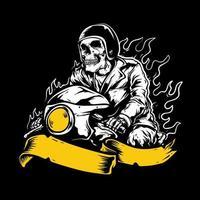 motociclista scheletro fiammeggiante con banner giallo