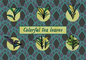 Varia priorità bassa di vettore delle foglie di tè