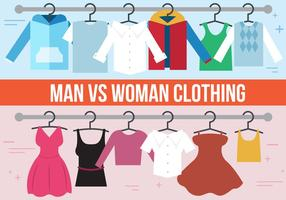 Uomo VS. Abbigliamento donna vettoriale