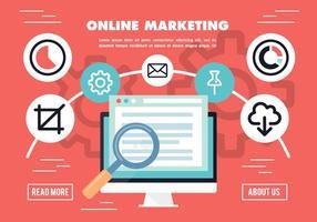 Fondo di vettore di ricerca di mercato online piatta