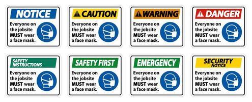 indossare una maschera sui segni del cantiere