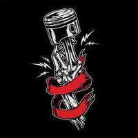 mano di scheletro che tiene pistone in nastro rosso
