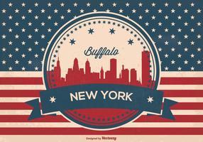 retro bufalo skyline di new york vettore