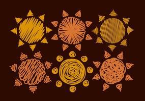 Set di 6 Soli vettoriali disegnati a mano