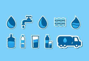 set di icone acqua agua vettore