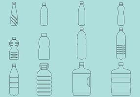 Icone di bottiglie d'acqua vettore