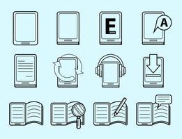 Vettore dell'icona del E-libro e del E-lettore