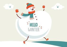 grande pupazzo di neve invernale a piedi con nuvole felici