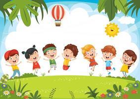 bambini che giocano fuori in estate vettore