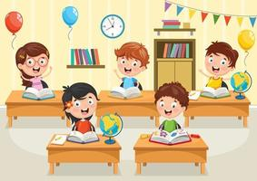 studenti di cartoni animati che leggono libri ai banchi