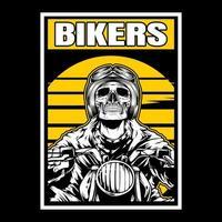 motociclista scheletro di fronte al tramonto giallo