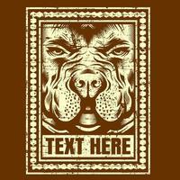 testa di cane gialla del grunge nel telaio con copyspace
