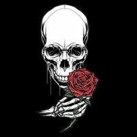 testa di scheletro e mano che tiene rosa