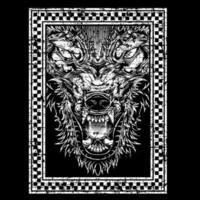 testa di lupo grunge in cornice a scacchi vettore